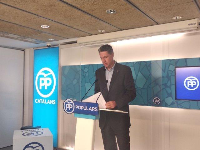 El presidente del PP catalán, Xavier García Albiol, en rueda de prensa