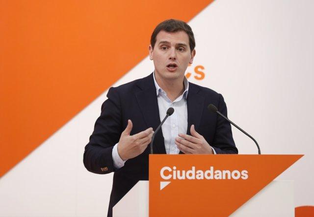 Rueda de prensa del líder de Ciudadanos, Albert Rivera - Archivo