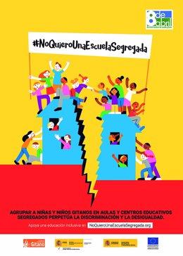 Cartel de la campaña 'No quiero una escuela segregada' de Secretariado Gitano
