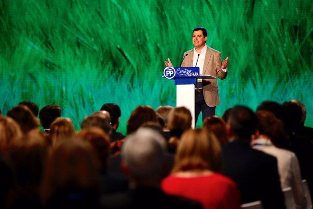 Juanma Moreno, en la Convención del PP