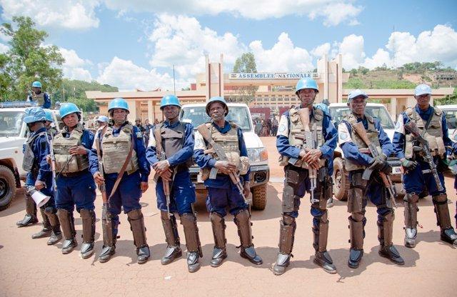 Efectivos de la MINUSCA en Bangui