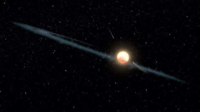Ilustración artística del supuesto anillo de polvo en torno a KIC 8462852