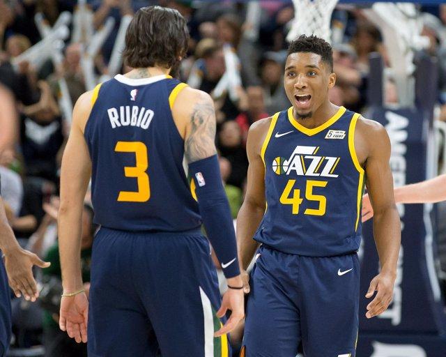 Ricky Rubio y Donovan Mitchell (Utah Jazz)