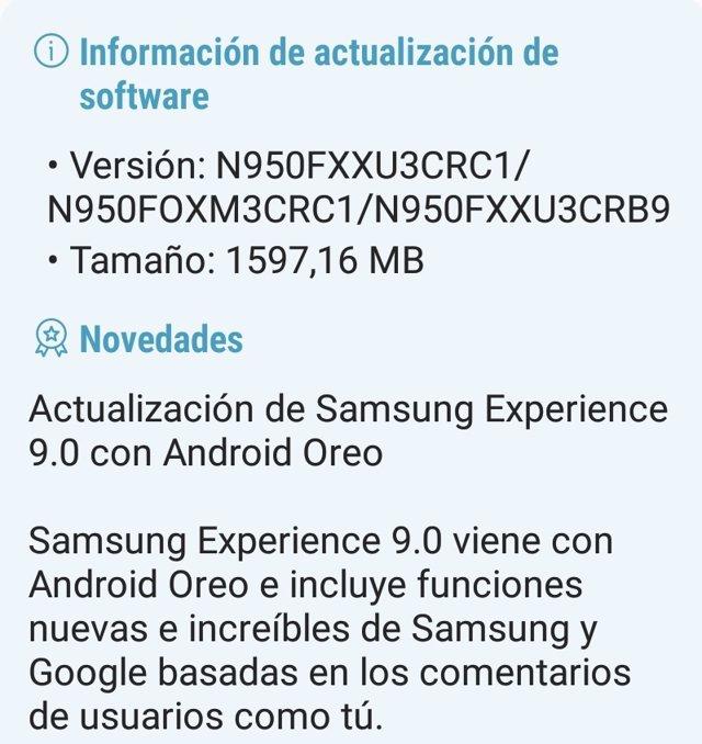 Android Oreo llega a los modelos españoles de Samsung Galaxy Note8