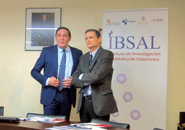 Sáez Aguado y Rogelio Sarmiento, director del IBSAL.