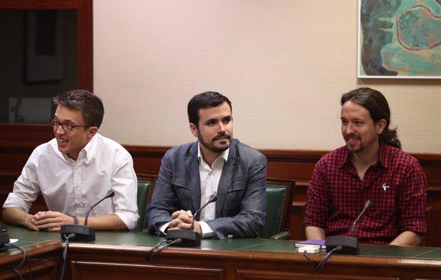 Errejón, Garzón y Pablo Iglesias en el Congreso (Archivo)