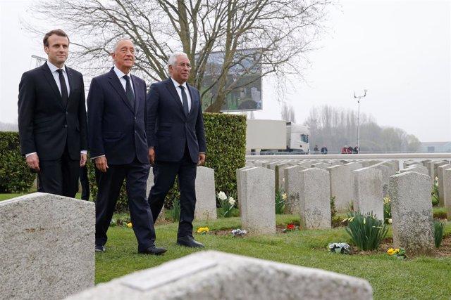 Emmanuel Macron, Marcelo Rebelo de Sousa y António Costa