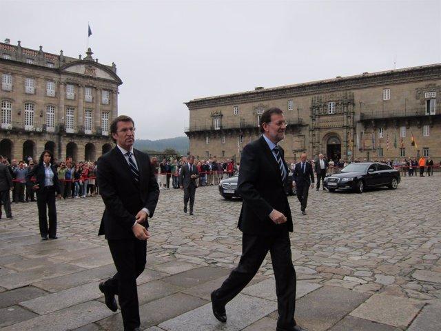 Alberto Núñez Feijóo Y Mariano Rajoy A Su Llegada A La Catedral