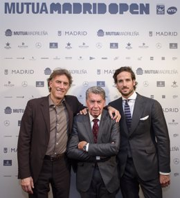 Gerard Tsobanian, Manolo Santana y Feliciano López, del Mutua Madrid Open