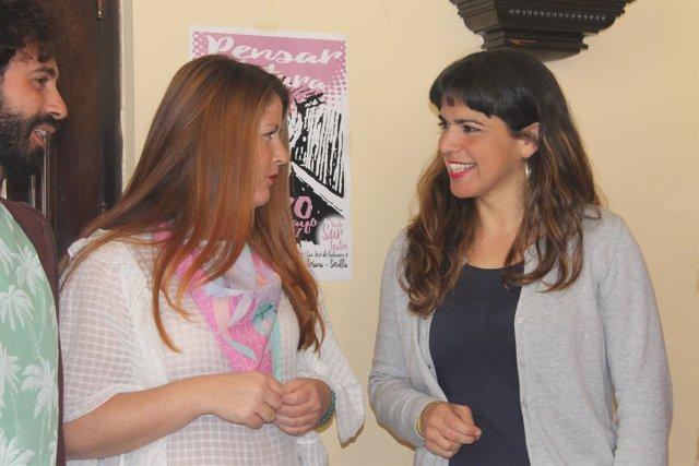Susana Serrano y Teresa Rodríguez, en un acto este lunes en Sevilla