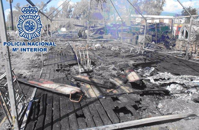 Chirinquito incendiado en Estepona