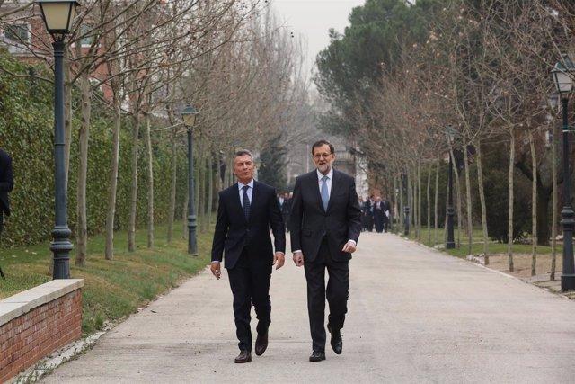 Rajoy recibe a Mauricio Macri en La Moncloa en febrero de 2017