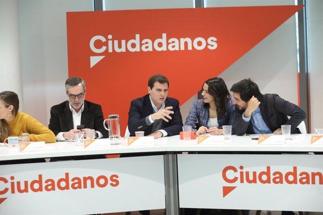 Rivera, Inés Arrimadas y Toni Roldán en la reunión del Comité Ejecutivo de Cs