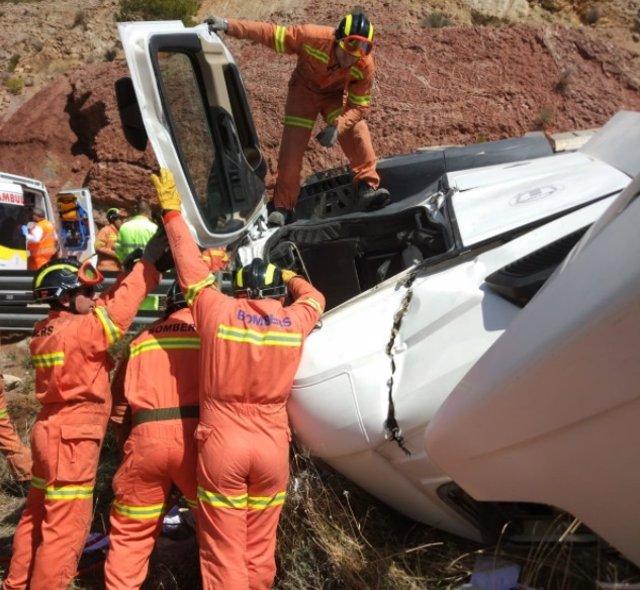 El camión accidentado