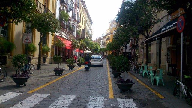 La calle Mateos Gafo tras la reordenación.