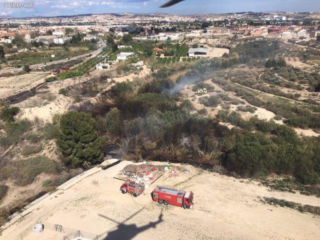 Imágenes helicóptero de la zona afectada por el incendio