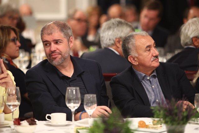 Unai Sordo y Pepe Álvarez en el desayuno Informativo de Europa Press con Sánchez