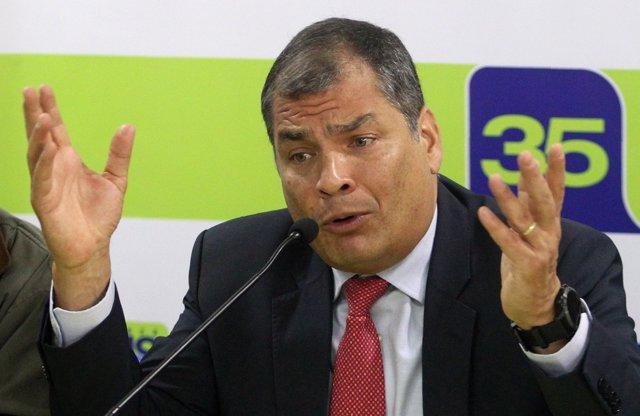 Ecuador's former president Rafael Correa talks to foreign media in Quito, Ecuado