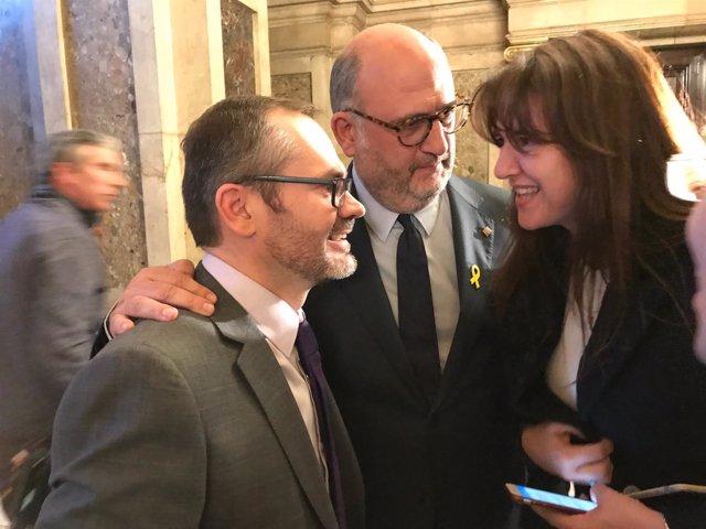 Eduard Pujol, Josep Costa y Laura Borràs, JxCat