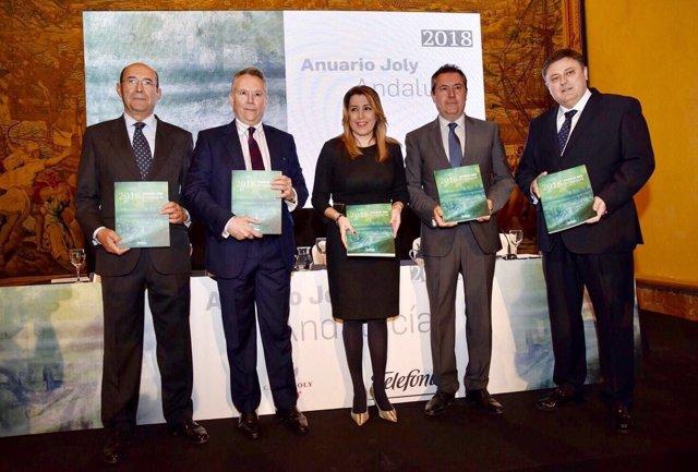 La presidenta de la Junta, Susana Díaz, en la presentación del Anuario Joly 2018