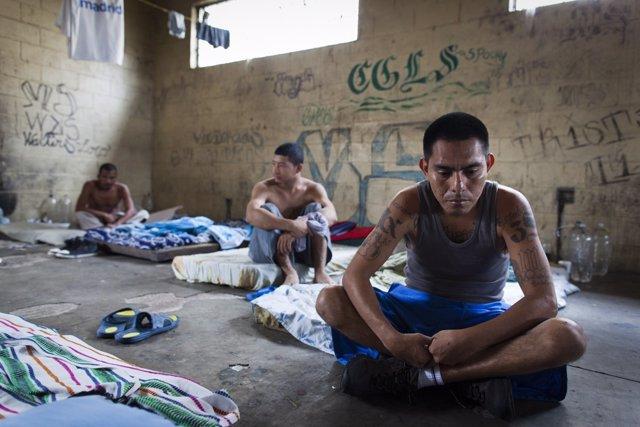 Miembros de la pandilla criminal MS13.