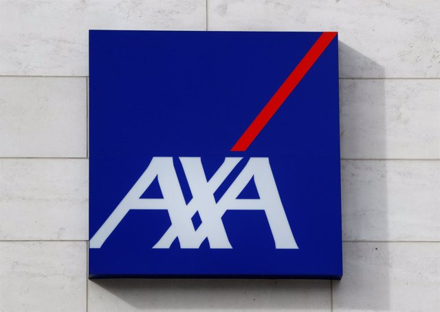 A logo of insurer Axa is seen at the entrance of the company's headquarters in B
