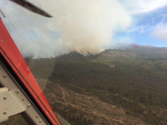 Imagen aérea del incendio de Granadilla