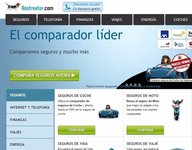Página web del comparador online Rastreator.Com.