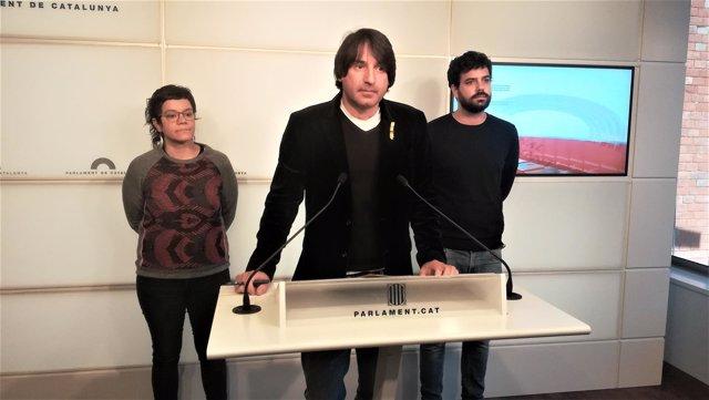 Francesc de Dalmases (JxCat), Natàlia Sànchez (CUP), Ruben Wagensberg (ERC)