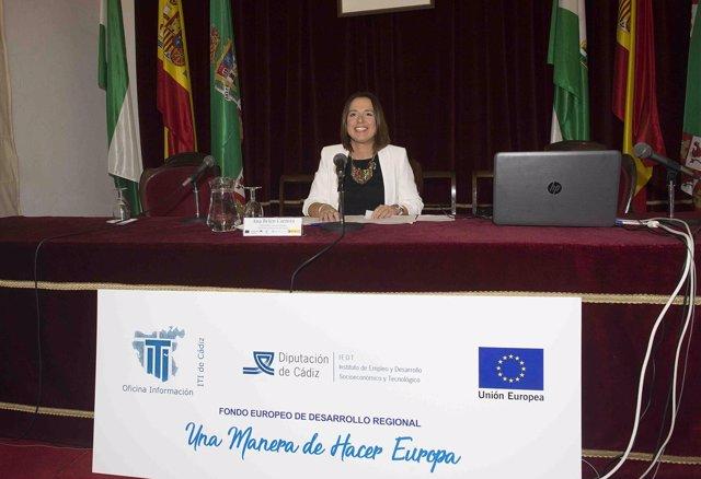 Ana Carrera, de la Diputación de Cádiz, en la jornada sobre Interreg Sudoe