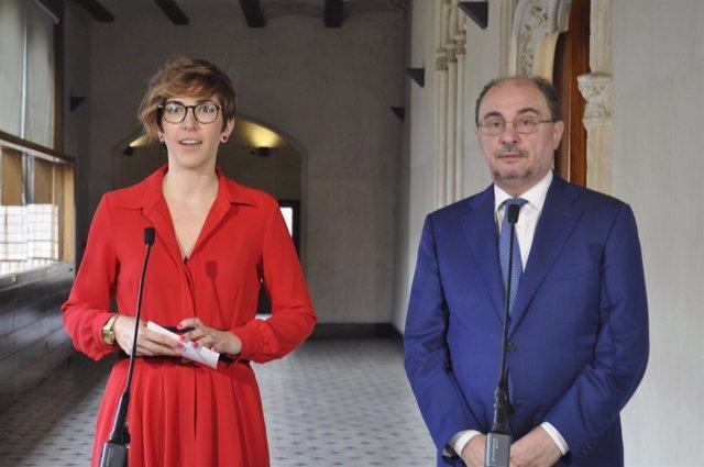 Violeta Barba y Javier Lambán, atendiendo hoy a los medios de comunicación