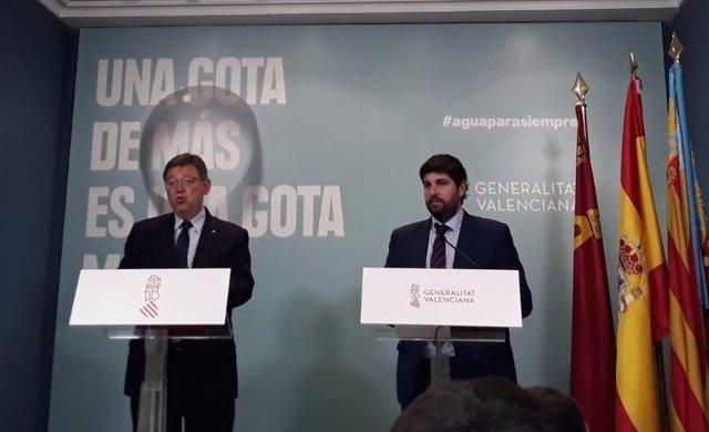 Ximo Puig (izq) y López Miras (dcha), este martes en la sede del Consell