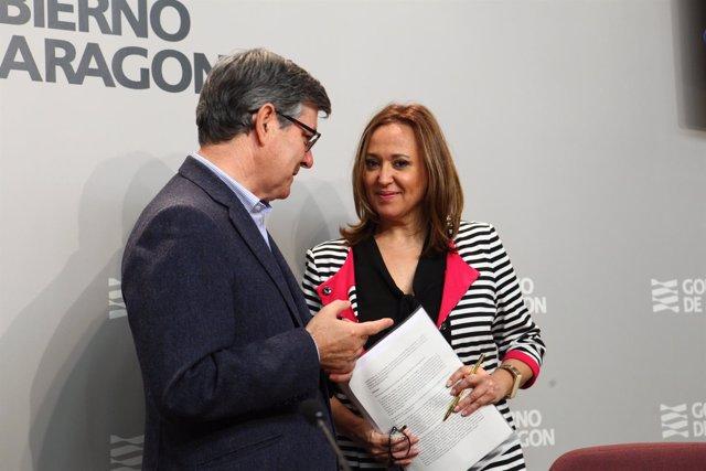 Guillén y Mayte Pérez, hoy tras el Consejo de Gobierno