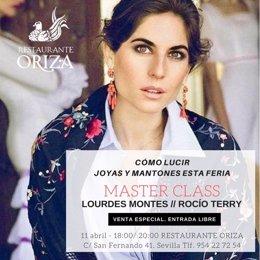 Cartel de la master class de Lourdes Montes sobre moda flamenca en Oriza