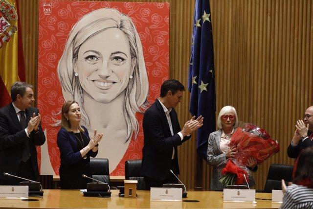 Zapatero, Ana Pastor y Pedro Sánchez en el homenaje a Ana Pastor en el Congreso