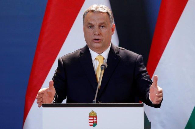 Viktor Orban en rueda de prensa en Budapest
