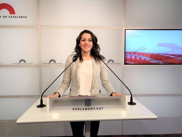 Inés Arrimadas, líder de Ciudadanos en Catalunya, en rueda de prensa