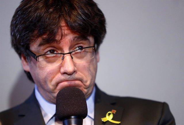 Carles Puigdemont en rueda de prensa en Berlín