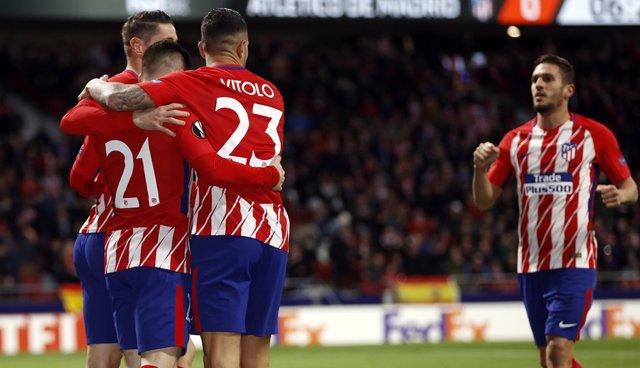 El Atlético de Madrid celebra un gol en la Europa League