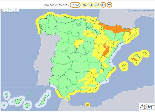 Mapa de riesgos meteorológicos previstos para el 11 de abril en España