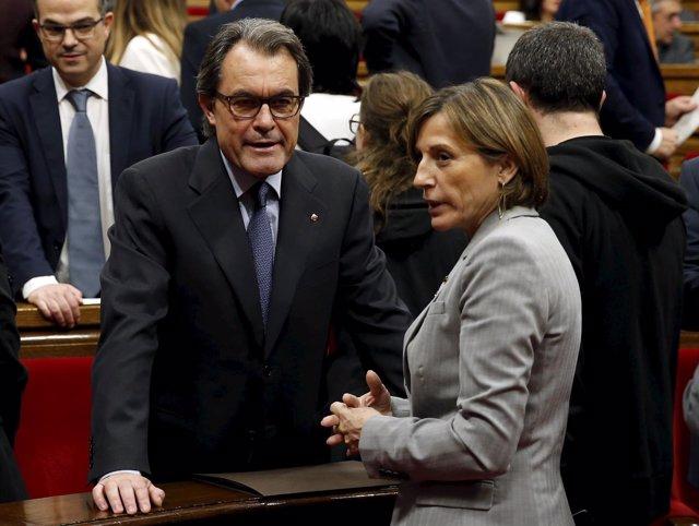 Artur Mas y Carme Forcadell en el Parlament