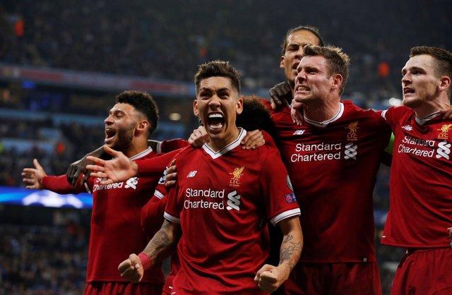 El Liverpool celebra su pase a semifinales de la Champions