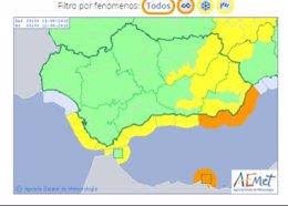Avisos de Aemet para el miércoles 10 de abril en Andalucía