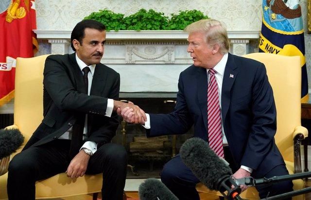 El presidente de EEUU, Donald Trump, recibe al emir de Qatar
