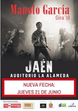 Cartel del concierto de Manolo García con la nueva fecha en Jaén.