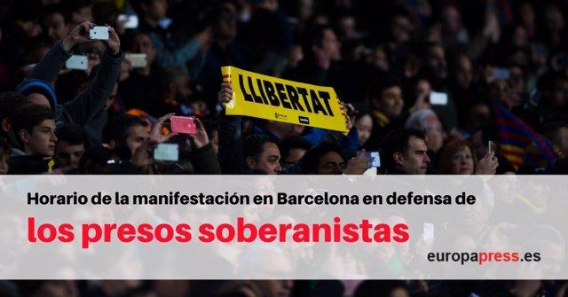 Horario y recorrido de la manifestación en Barcelona por los presos soberanistas