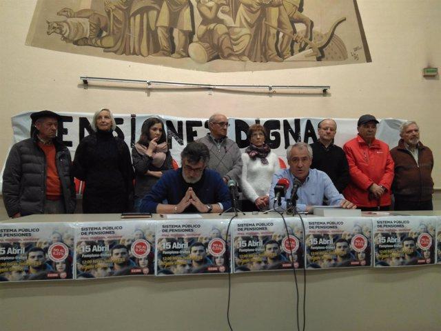 Los secretarios generales de UGT y CCOO de Navarra en rueda de prensa
