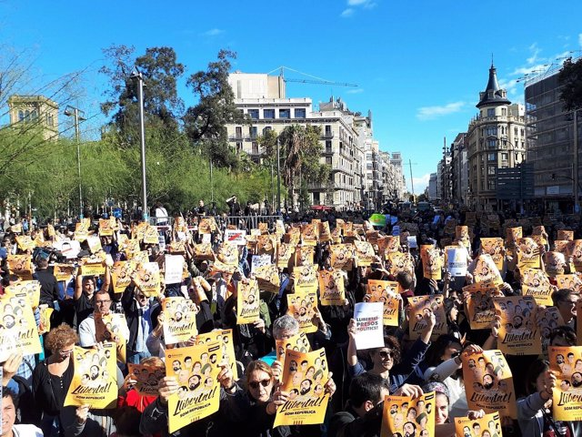 Concentración anterior en Barcelona por los presos soberanistas (Archivo)
