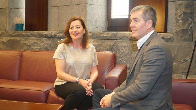 Francina Armengol  y Fernando Clavijo reunidos en Canarias