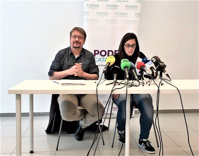 Xavier Domènech (líder de Podem) Conchi Avellán (miembro de la dirección)